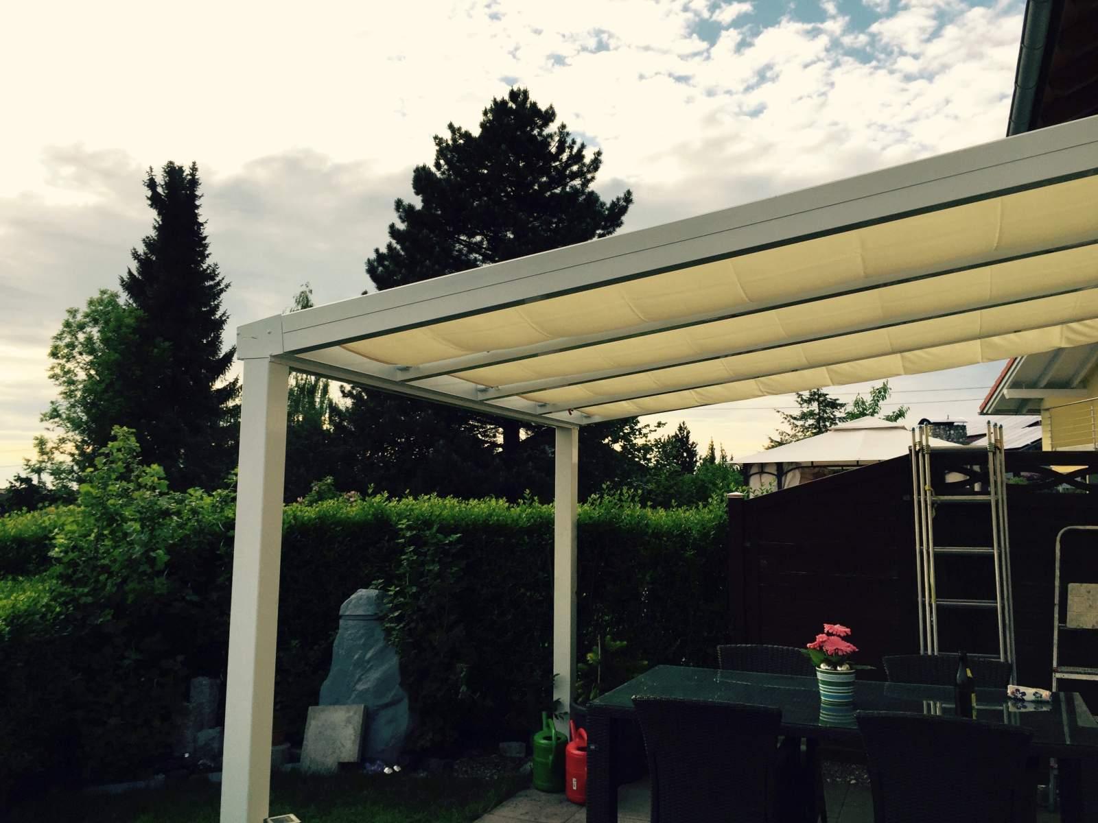 später Gutscheincode bestbewerteter Beamter Sonnensegel für Ter.-Dach mit VSG 7 x 3,0 m; 9 Bahnen